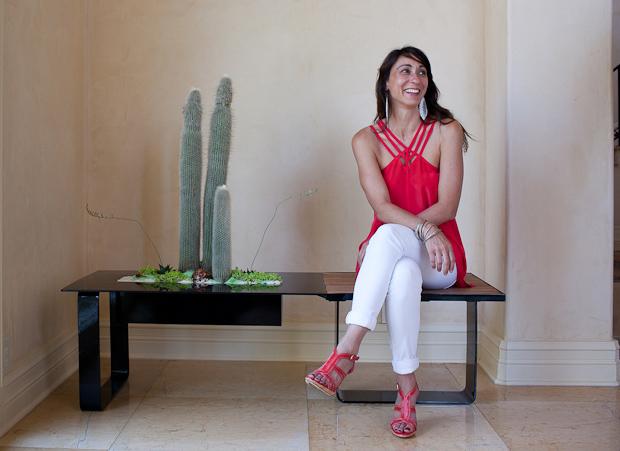 Monique Capanelli with one of her Living Furniture designs. Photo: Leon Alesi