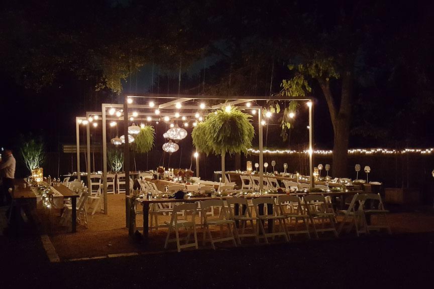 Articulture at night. Wedding venue in Austin, TX