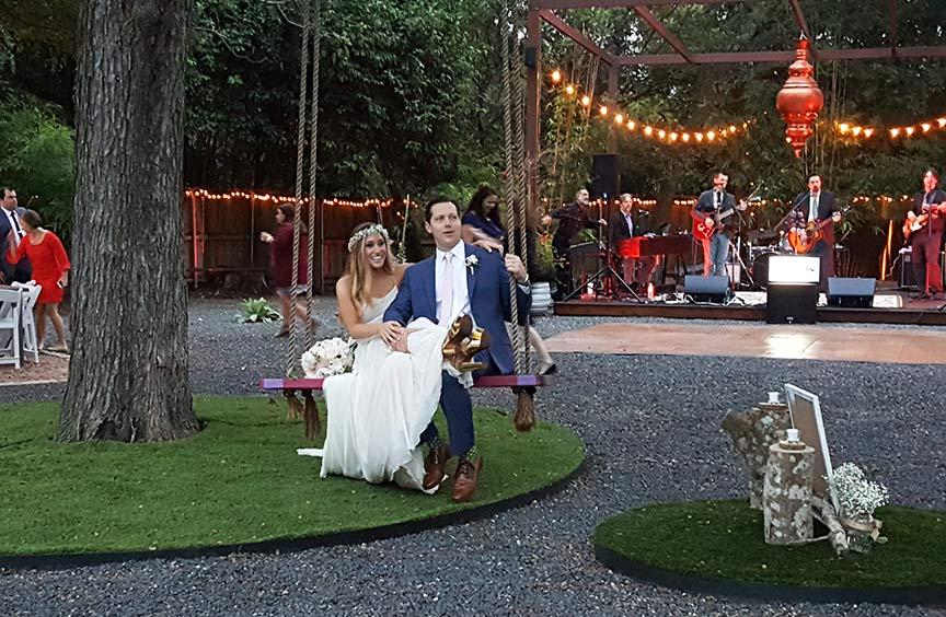 bride and groom at Articulture Designs wedding venue in Austin, TX