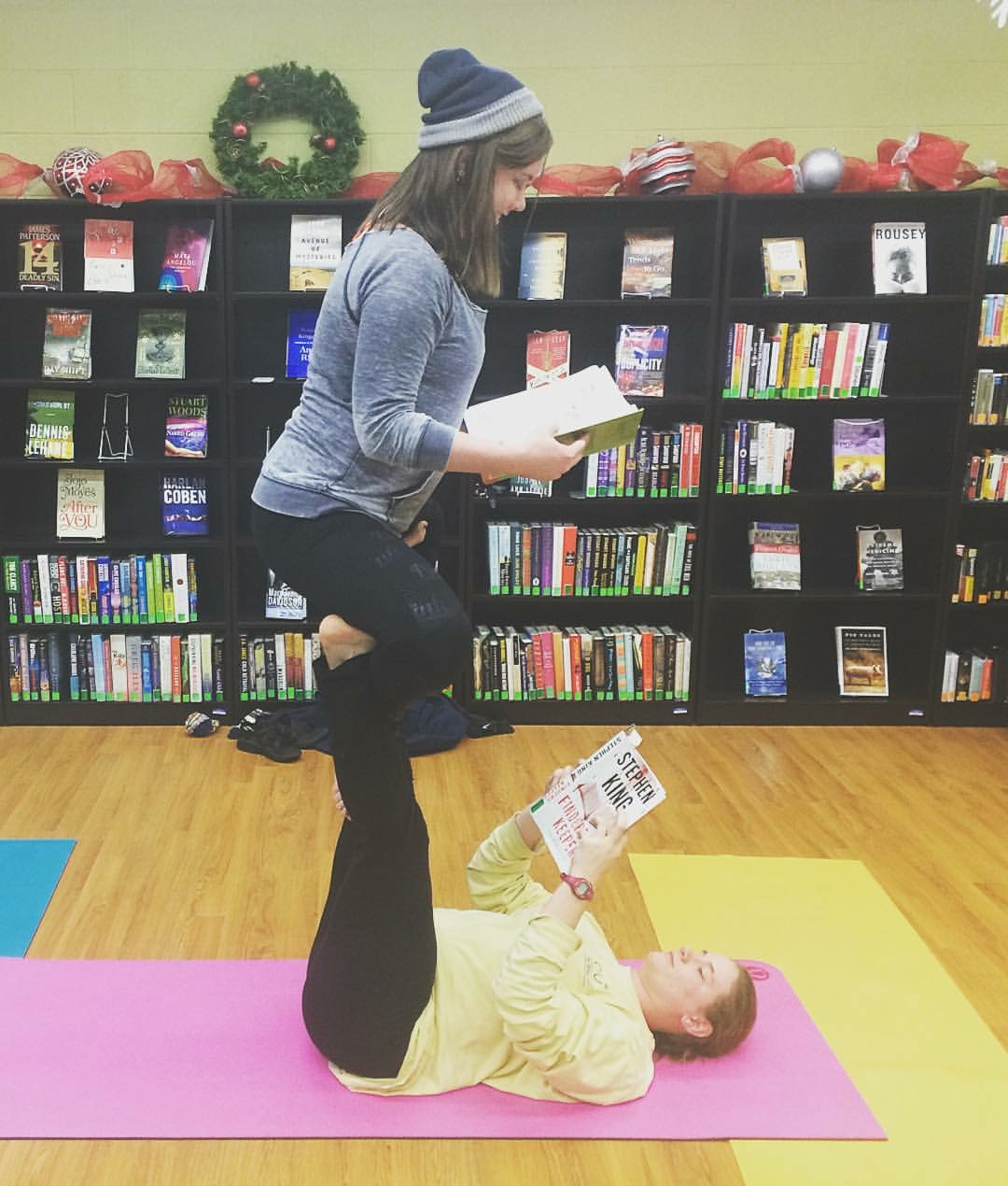 When she's not doing acro, you can usually find a book in Jamie's hands.