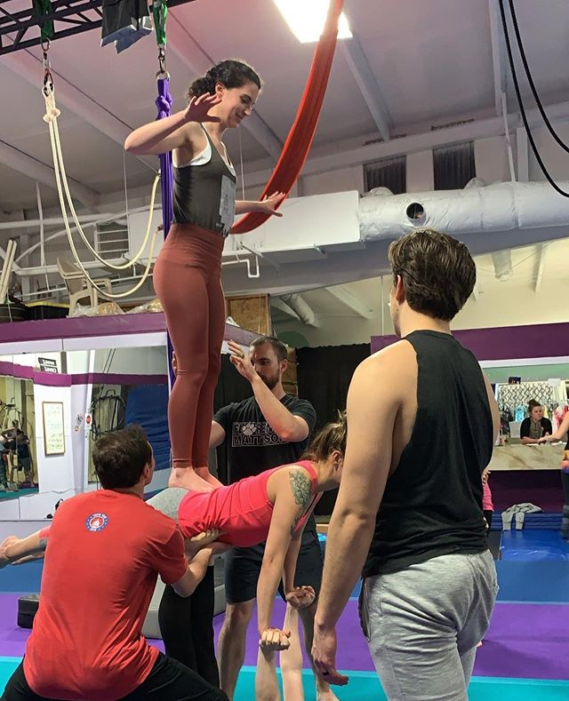 Member Monday! Shoutout to this awesome lady. Molly has been doing acro with us for a couple of months now and she has completely impressed us with her determination to reach new heights. From flying the daring three person poses to trying high bird for the first time, we love seeing her level up. She is also a yoga instructor and loves playing dungeons and dragons. We always enjoy seeing her radiant smile walk into our class! Thanks, Molly! ⠀ •⠀ •⠀ #acro #acroyoga #acroyogafun #acroyogalove #acrobatics #acrofamily #acrolove #partneroga #partneracrobatics #circus #circusfamily #circusaroundtheworld #fitness #thankful #appreciationpost⠀