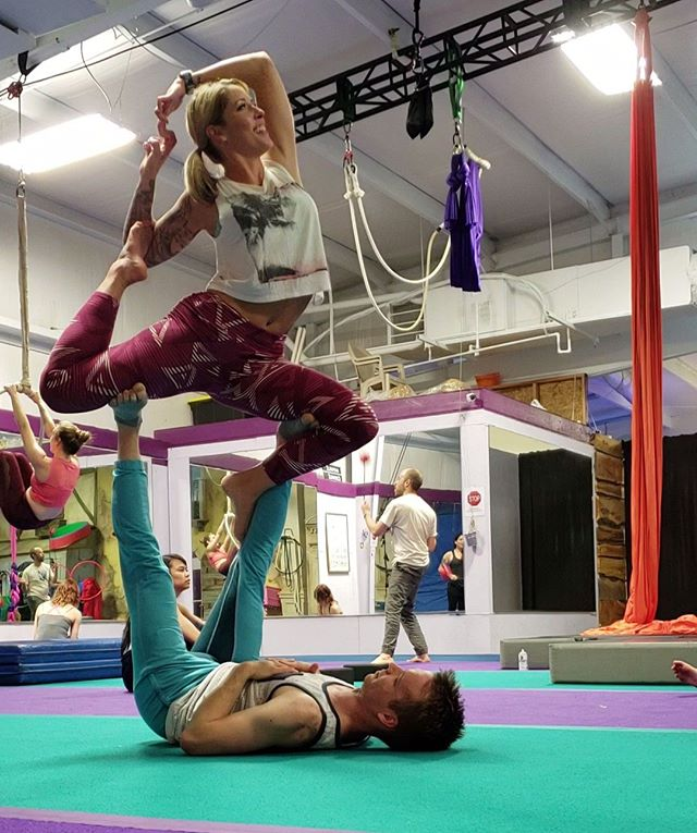 Member Monday! Let's talk about enthusiasm! Rebecca had been itching to try AcroYoga for months before she attended her first class, and we were SO excited when she finally made it. Rebecca's curiosity to learn is equally matched with her lighthearted playfulness. If you haven't gotten a chance to do Acro with the bubbly and joyful Rebecca, you're missing out!⠀ •⠀ •⠀ We hope to see you back in a class again soon!⠀ •⠀ •⠀ #acro #acroyoga #acroyogafun #acroyogalove #acrobatics #acrofamily #acrolove #partneroga #partneracrobatics #circus #circusfamily #circusaroundtheworld #fitness #thankful #appreciationpost⠀