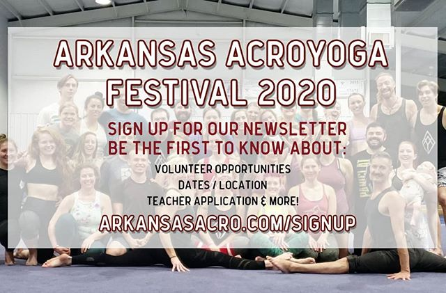🎉 HEADS UP 🎉 • • We're gearing up for Round Two: Arkansas AcroYoga Fest 2020 and want to share with you updates on: • • 🙋🏼♂️Volunteer Opportunities 🙋🏽♀️ 🕊 Early Bird Pricing 💸 📖 Instructor Applications 🤸🏼♀️ 📆 Dates / Location 📍 🏕 All other AAY Events 🚀 • • Sign up for our newsletter to stay in the loop and be the first to hear about these opportunities (LINK IN BIO)