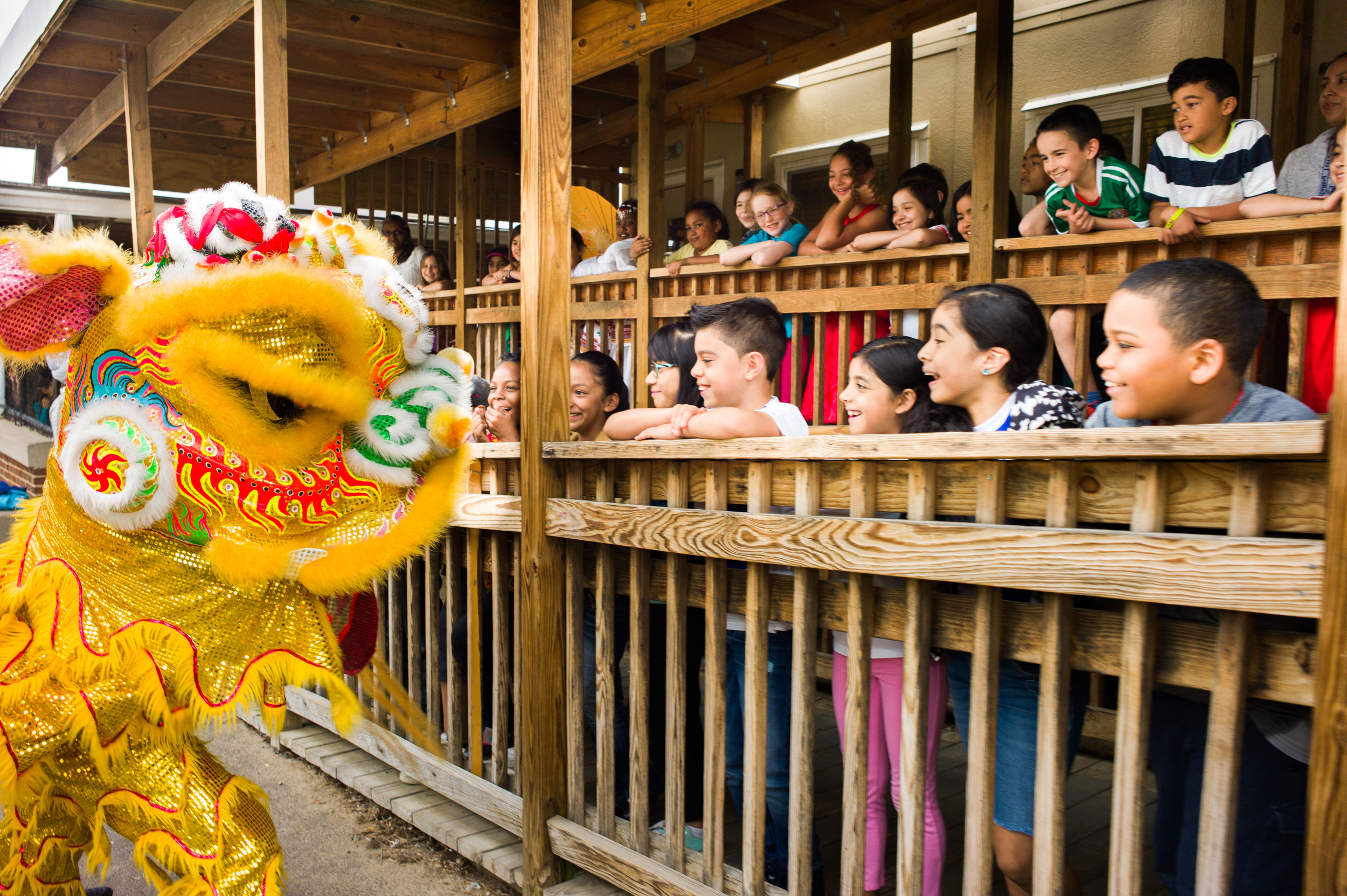 The Lion dancers led the students in a parade from the assembly throughout the school. Here they stopped to give a short performance to the third graders.