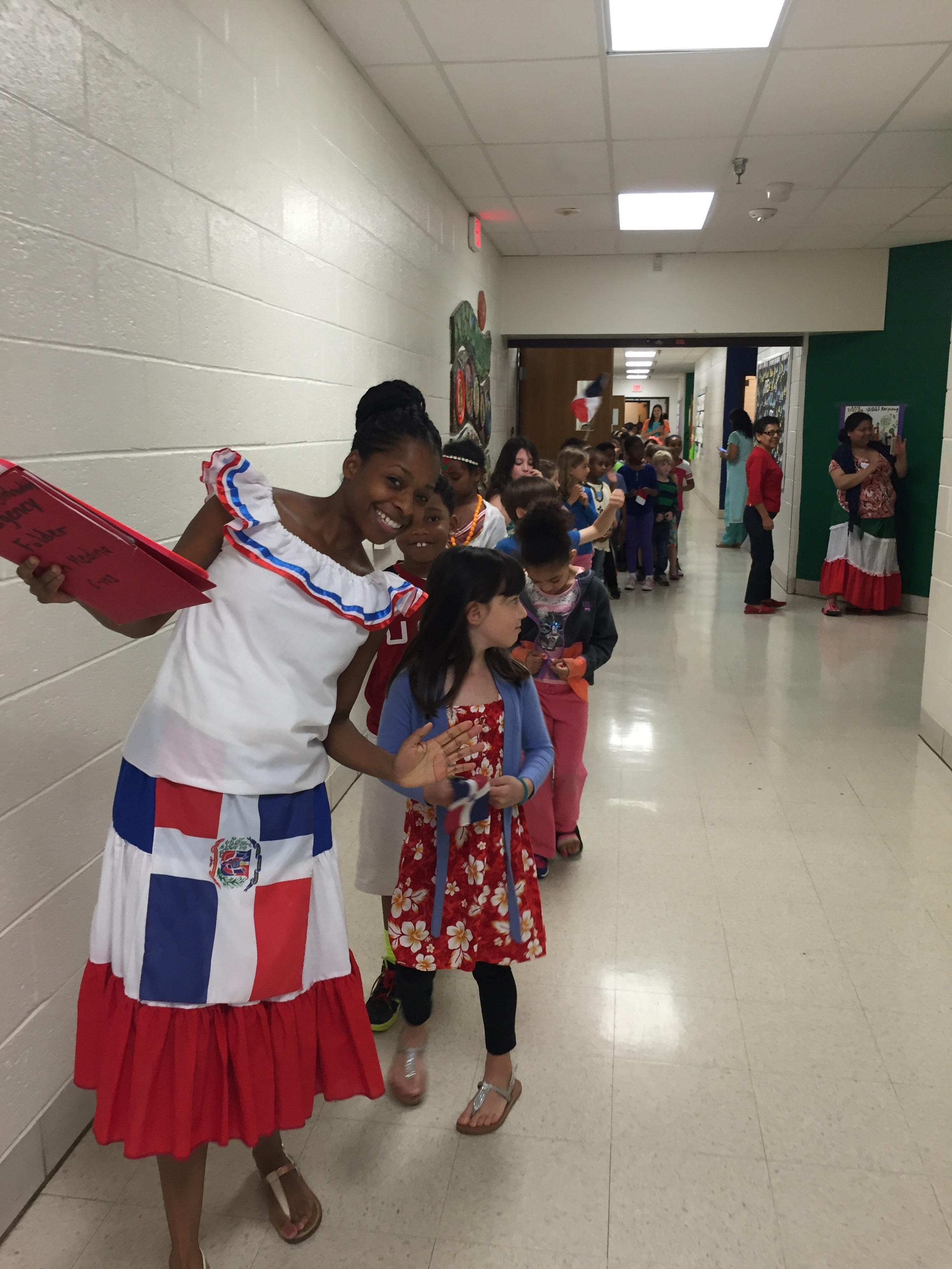 Srta. Medina and her class parading through the school.