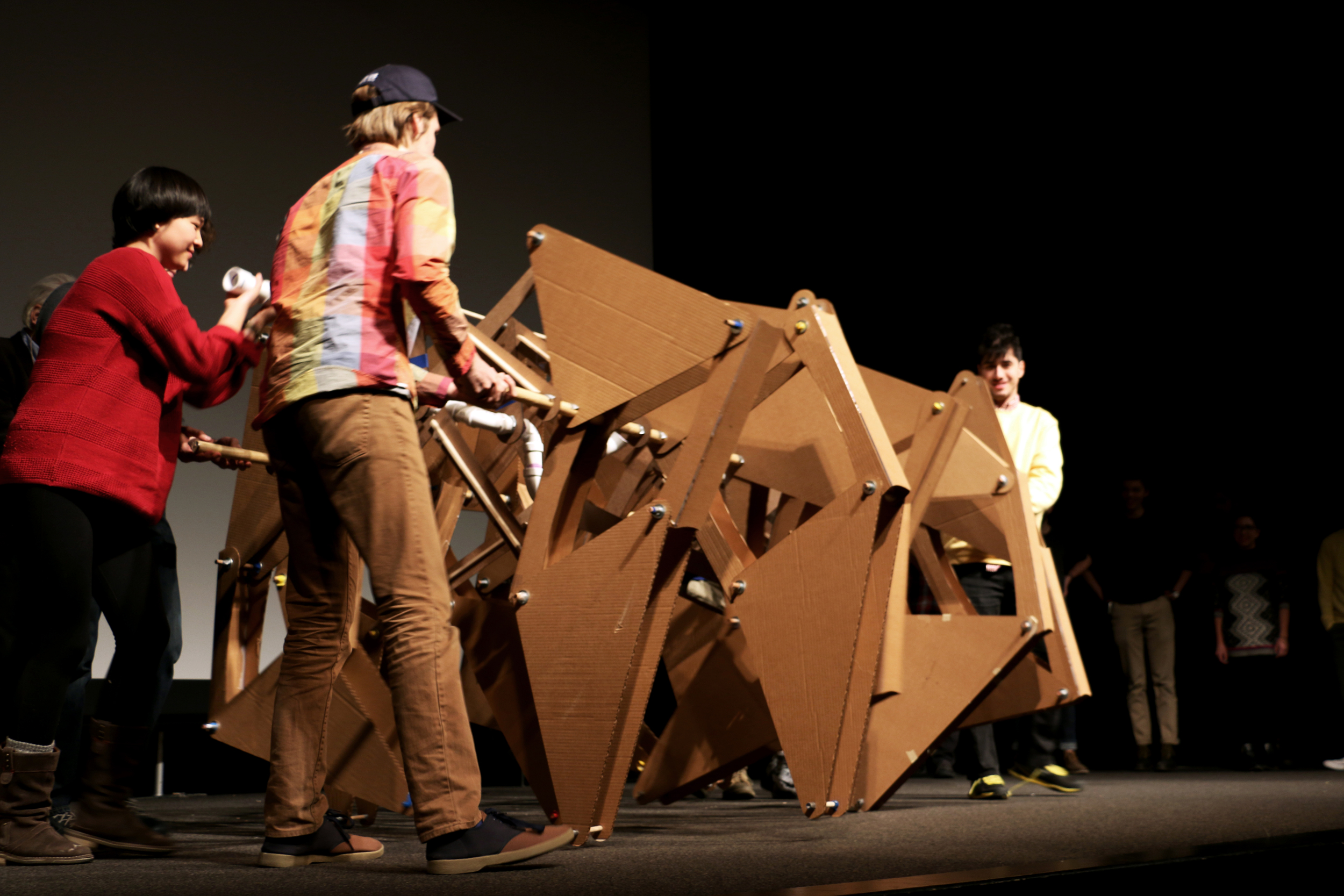 Brown + RISD STEAM presenting the Strandbeest at Theo Jansen's lecture