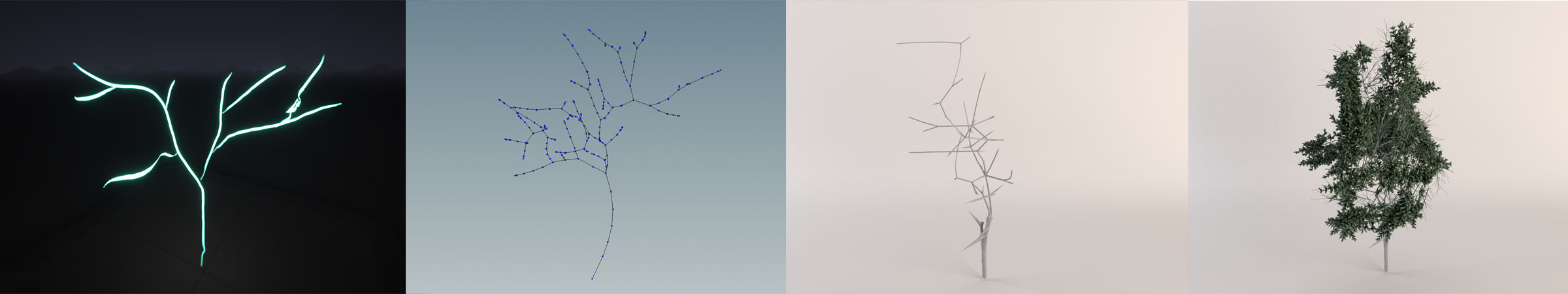 willowGAN, a study in neurally-aided 3D VR sketch-to-object tree modeling. From left to right: Tilt Brush input sketch, edge-to- point tree representation, generated tree mesh from the network, generated tree mesh with added leaves and twigs.