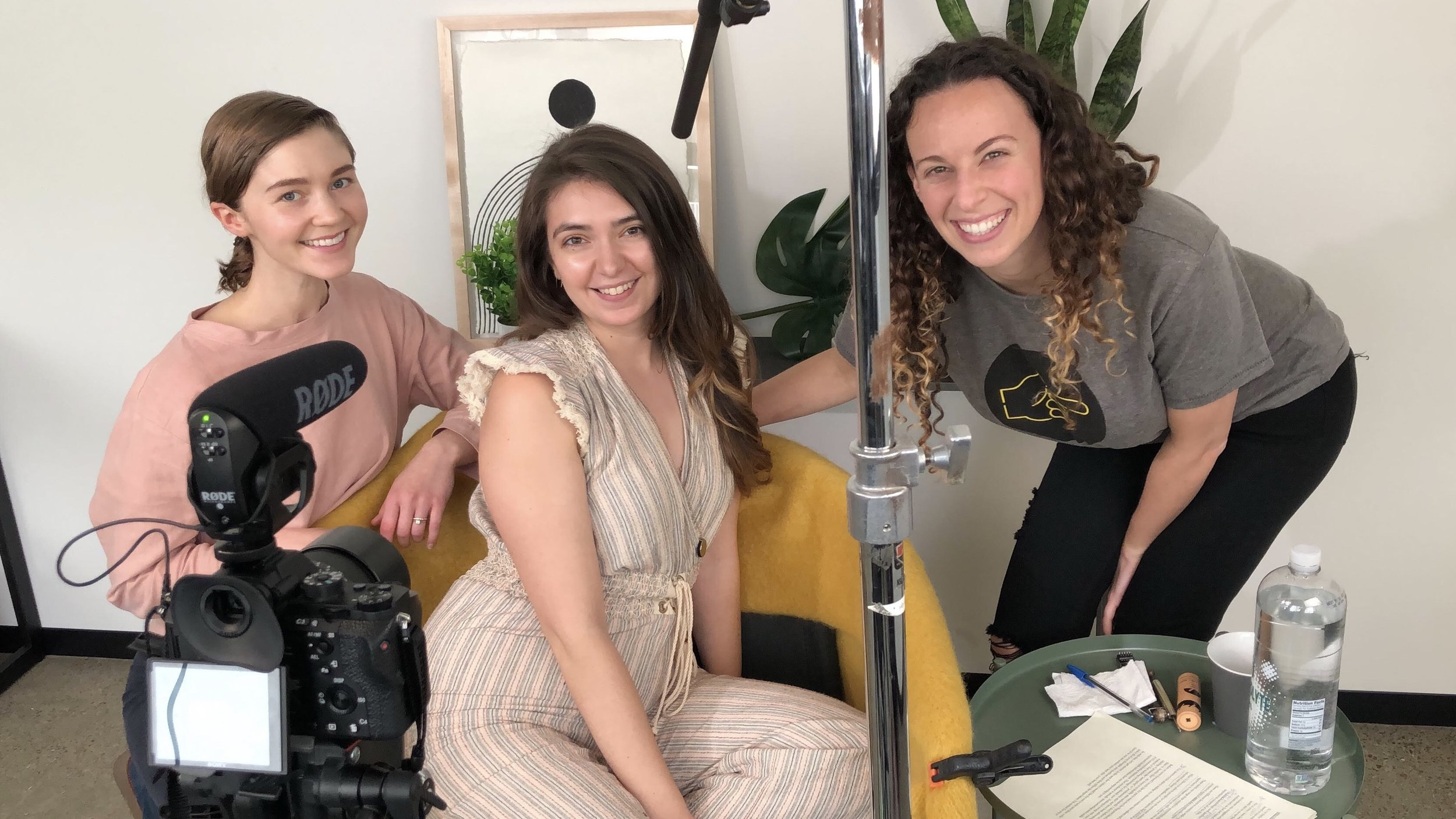 Amelia, myself, and Joanna while filming my course videos