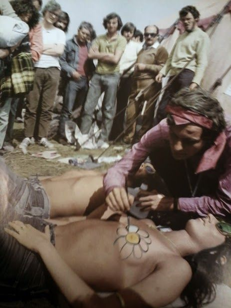 Nipple body paint at Woodstock in the late 60s