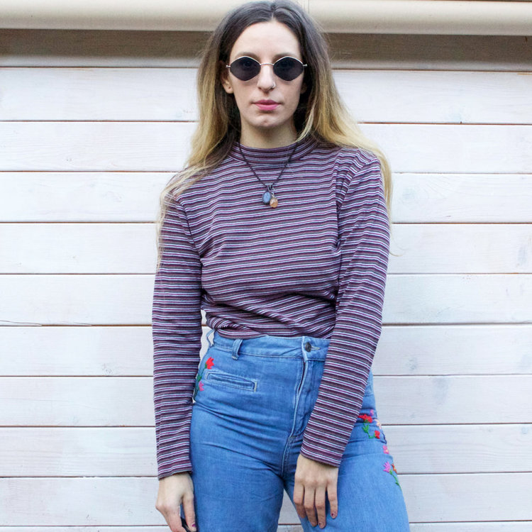 Striped Polo Neck 90s Top from  Desert Fox Collective