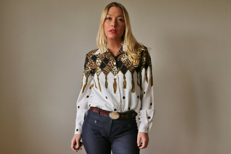 80s Button Up Tassel Blouse from  Salvage House