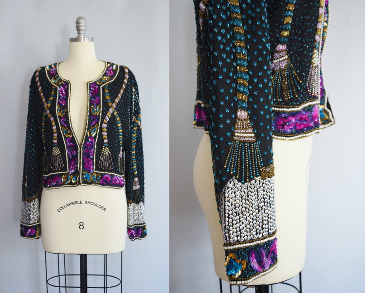 Beaded Silk Jacket with Tassel Beading from  We McGee Vintage