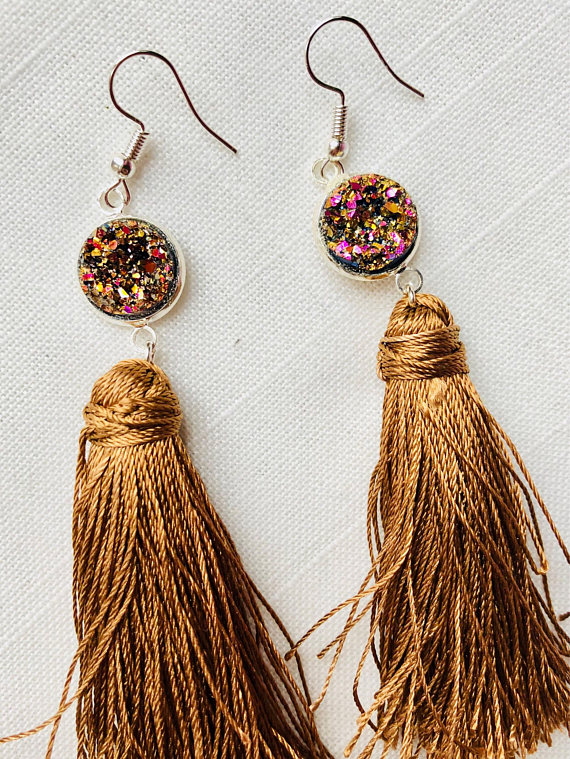 Champagne and Fuscia Druzzy Tassel Earrings from  ES Designs Creations