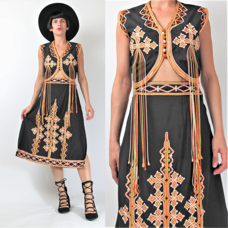 70s Embroidered Two Piece Set with Tassel Detail from  Honey Moon Muse