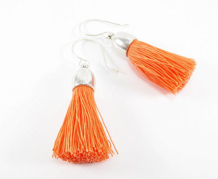 Orange Silk Tassel Earrings from  Livie Rose Design