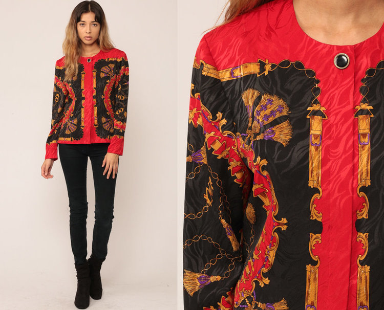 Vintage Baroque Print Blouse with Tassel Print from  Shop Exile