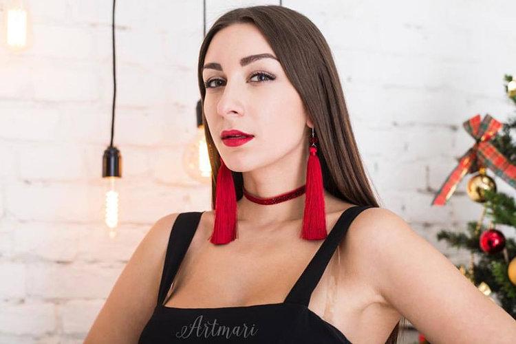 Red Long Tassel Earrings from Art Marie Design