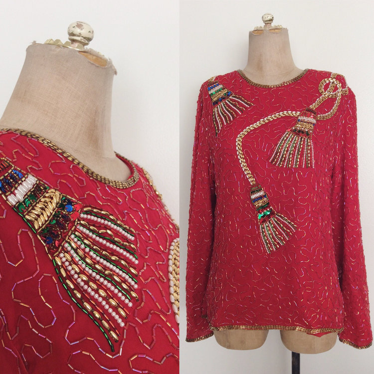80s Silk Beaded Top with Tassel Embroidery from Maeberry Vintage