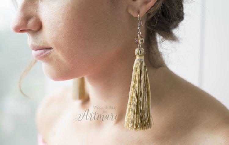 Gold Silk Tassel Earrings from  Art Mari Design