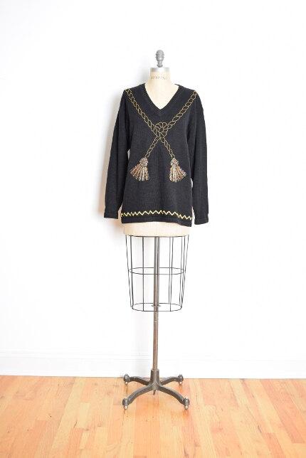80s Beaded Tassels Sweater from  Huncumunca Vintage