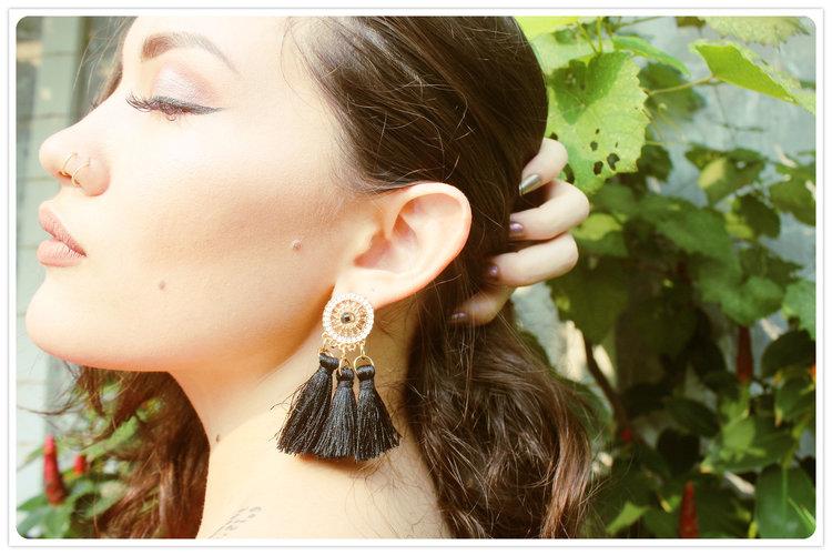 Black Tassel Earrings from  Choke Herr