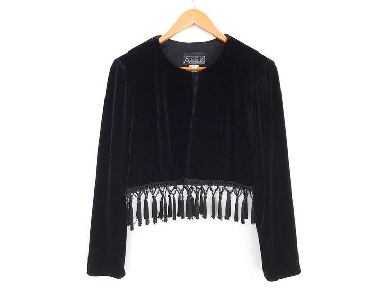 Black Velvet Cropped Jacket with Tassels from  Sadie Bess Vintage