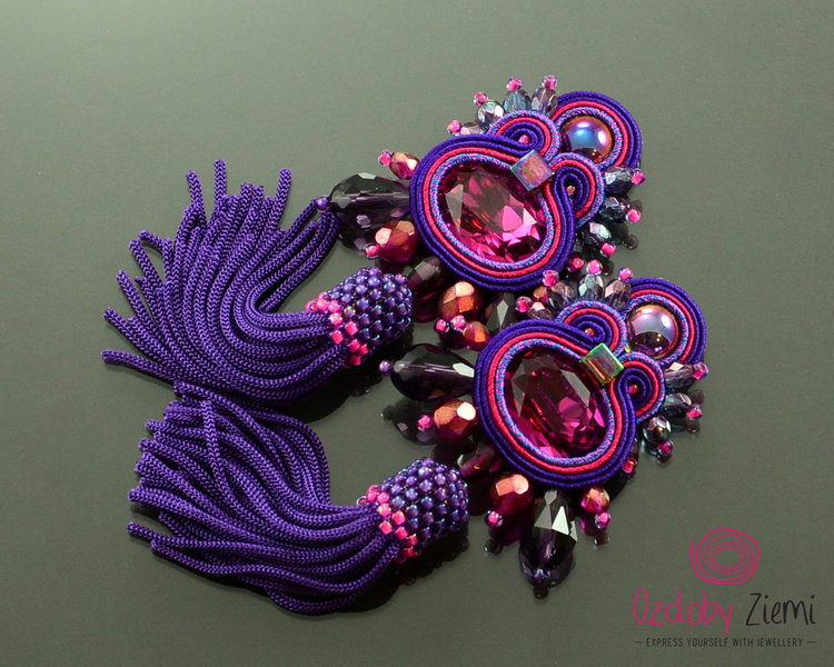 Ultra Violet Fringe Earrings with Gems from  Ozdo by Ziemi