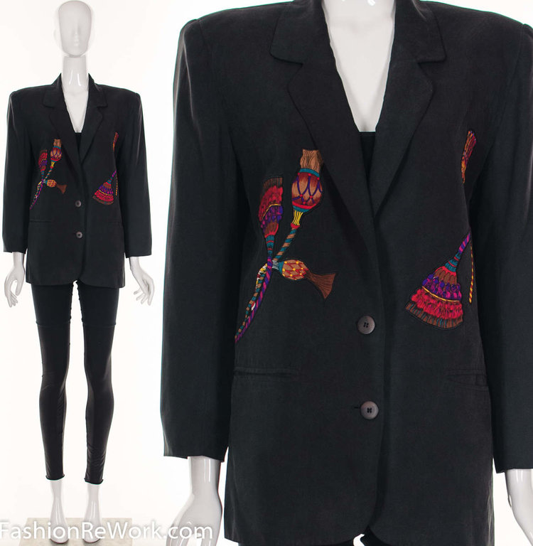 Silk Blazer with Tassel Embroidery from   Fashion Rework