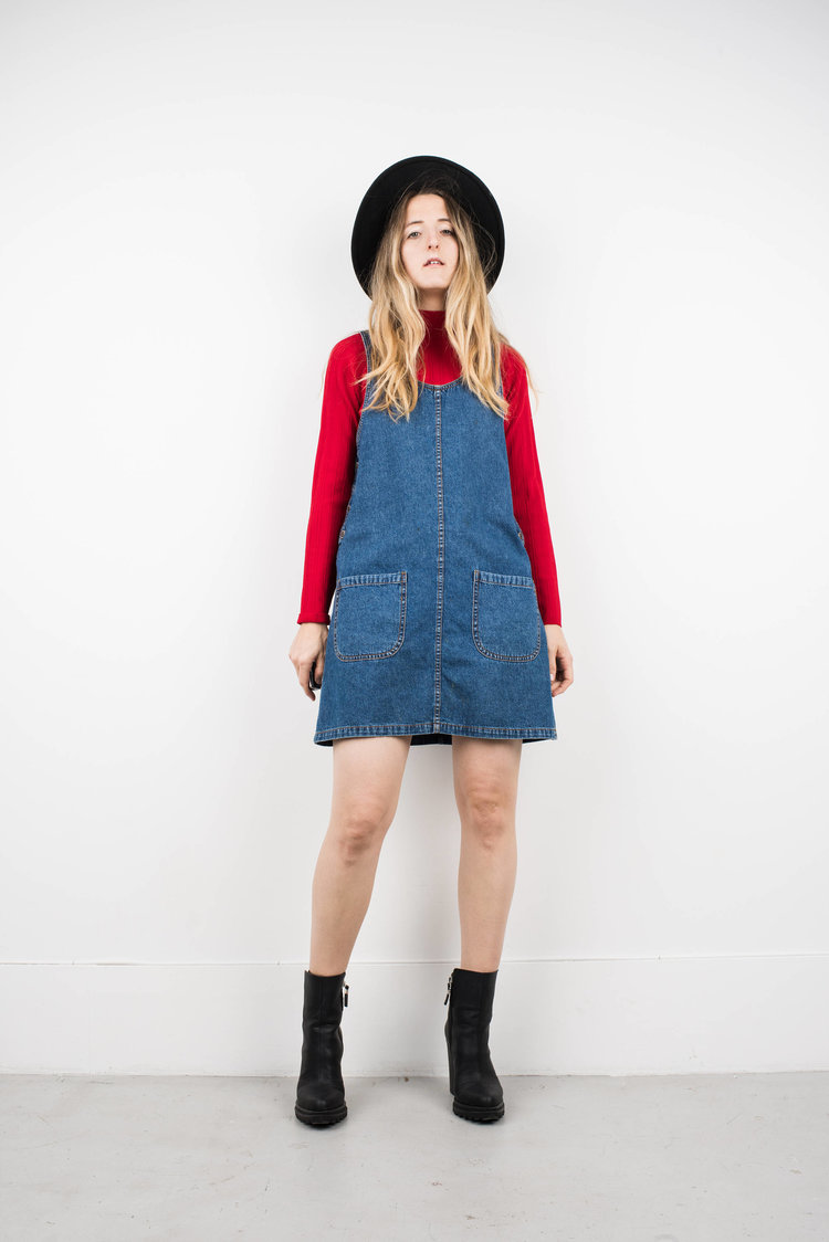 Blue Denim Overall Dress from  Shop Erika Astrid
