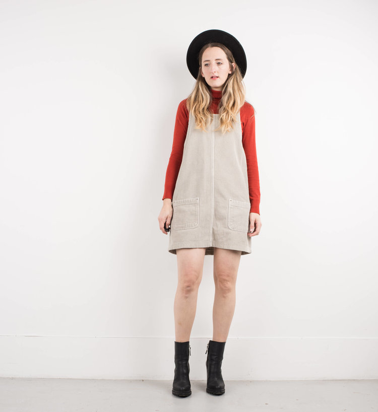 Beige Corduroy Overall Dress from  Shop Erika Astrid