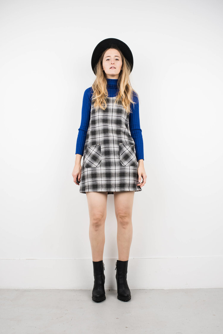 Plaid Overall Dress from  Shop Erika Astrid