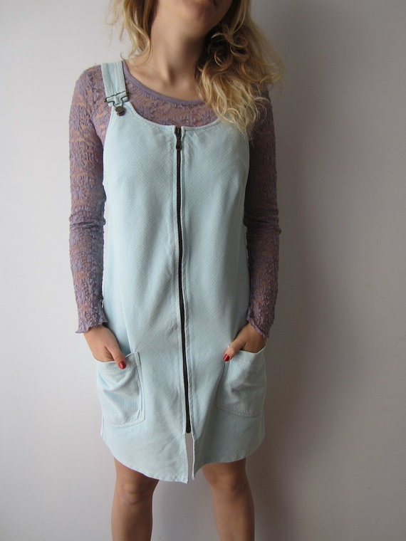 Sky Blue Corduroy Overall Dress from  Vintage Sis Bro