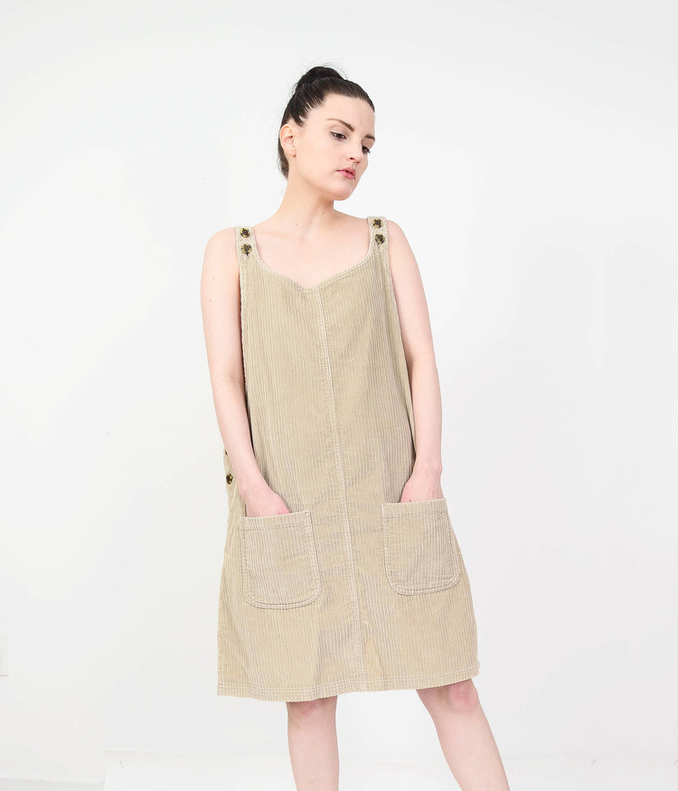 90s Vintage Tan Corduroy Overall Dress from  Shop Pom Pom Vintage