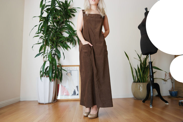 Brown Maxi Overall Dress from  Peony Daze