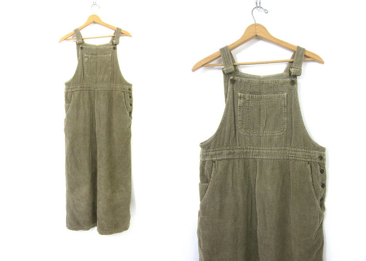 Taupe Corduroy Overall Dress from  Dirty Birdies Vintage
