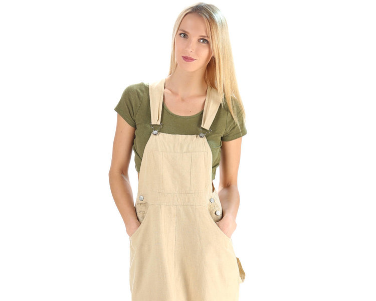 90s Linen Overall Dress in Long Length from  Taibaka