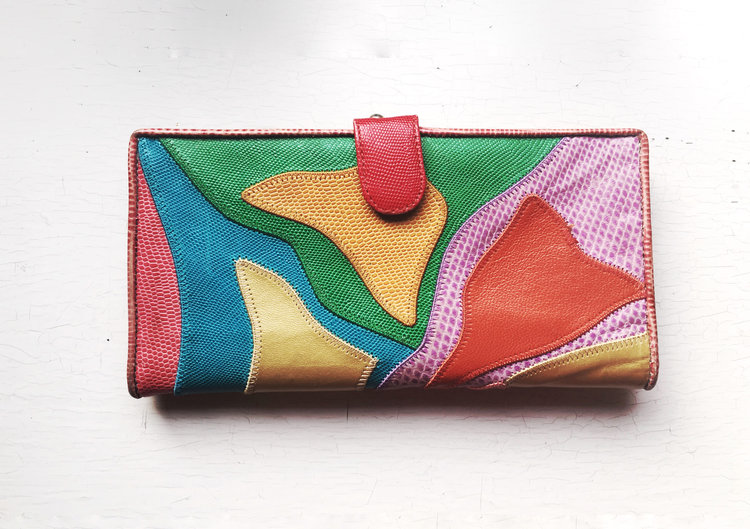Rainbow Reptile Patchwork Wallet from  Back Thennish Vintage
