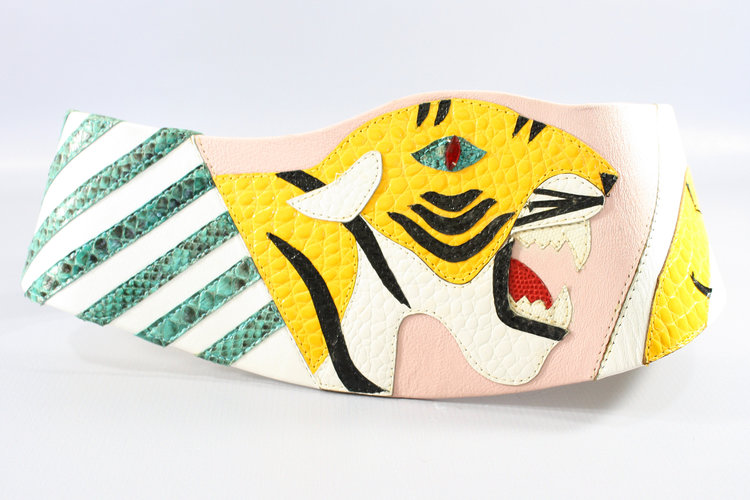 80s Patchwork Tiger Leather Belt from  Retro Active NOLA