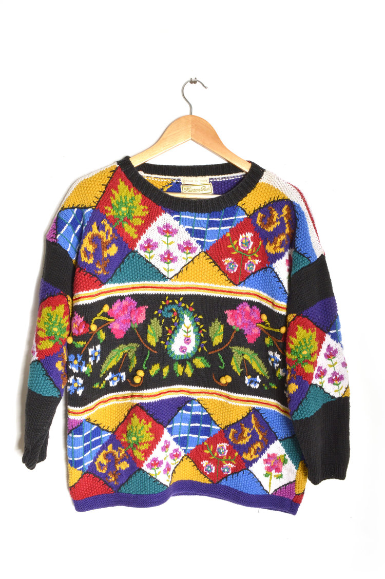 80s Patchwork Knit Jumper from Time Capsule Vintage