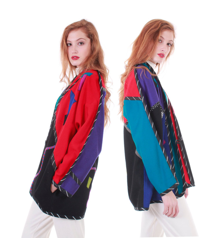 Colour Block Abstract Sweater Jacket from  KCO Vintage