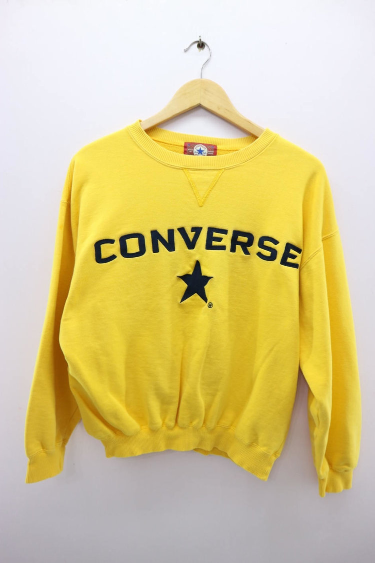 Yellow Converse Sweater with Embroidery from  Global Vintage Mall