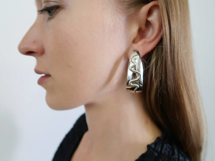 Sculptural Hoop Earrings with Snake Design from Damselfly Goods
