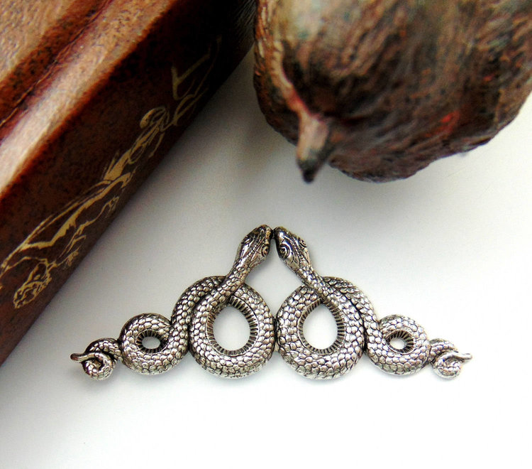 Antique Silver Serpent Earrings from  Birdys Design Gallery