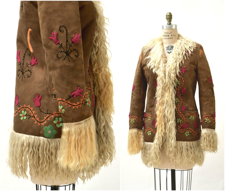 Vintage Afghan Coat with Embroidery from  Hooked on Honey