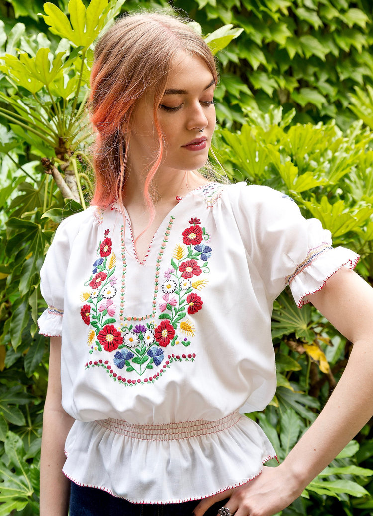 Embroidered Peasant Blouse from Wyldesyde Vintage