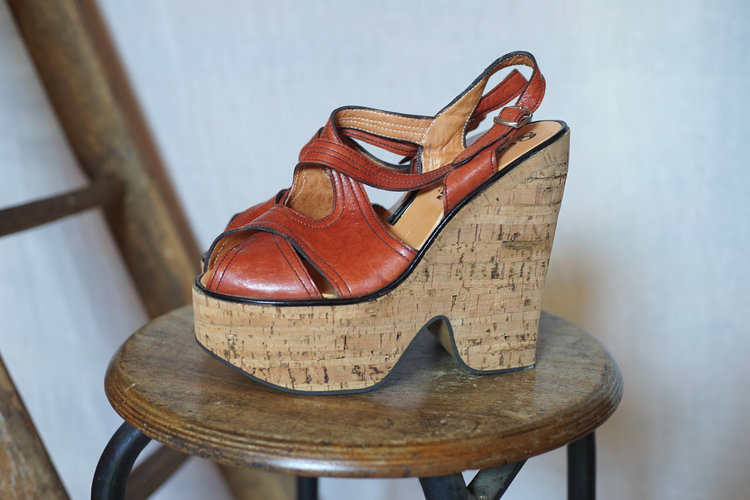70s Leather and Cork Platform Shoes from Ninon Retro