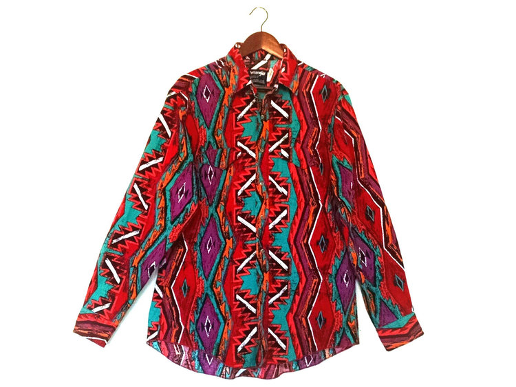 Southwestern Red Tones Button Up Shirt from  Street Styler