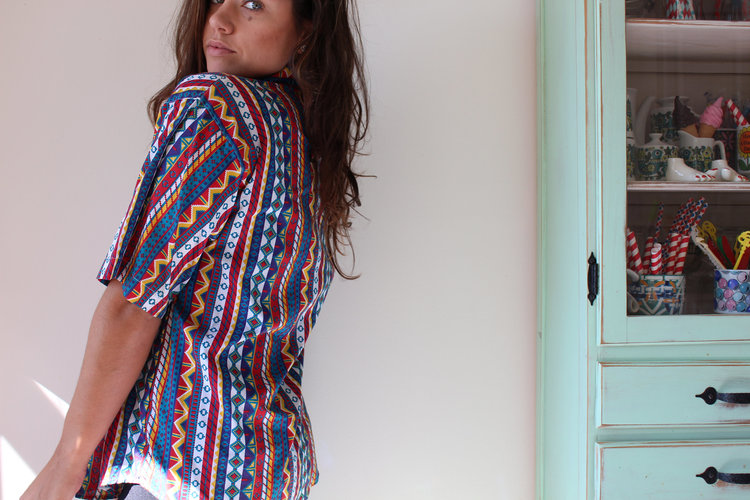 Short Sleeve Button Down Aztec Southwestern Print Shirt from  Retro and Me
