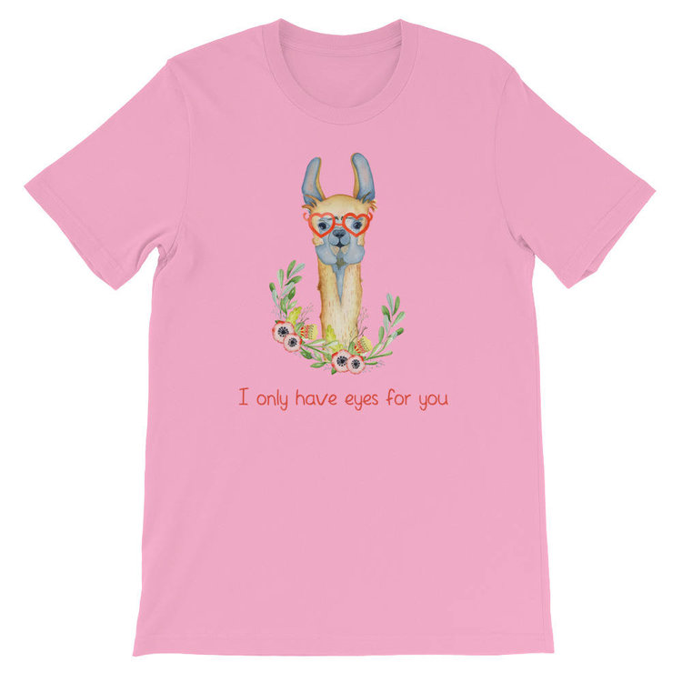 I Only Have Eyes for You Llama Tee from  Red Rover Tee Shirt Shop