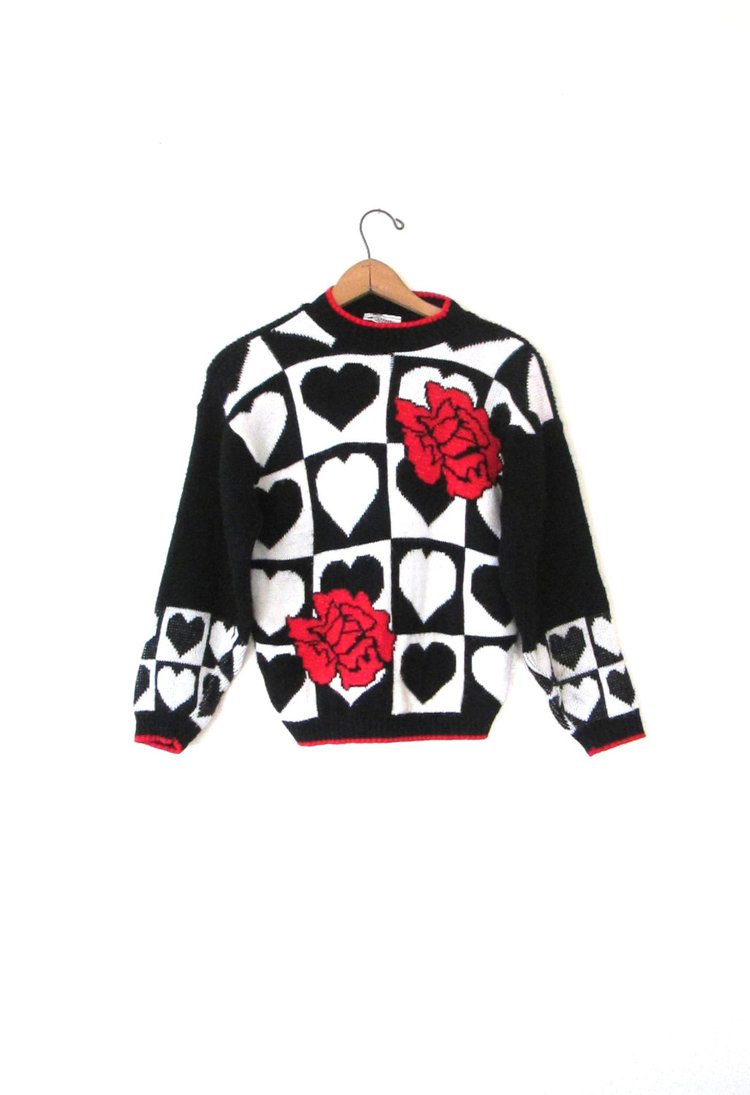 Novely Heart and Roses Sweater from  Fresh to Death Vintage